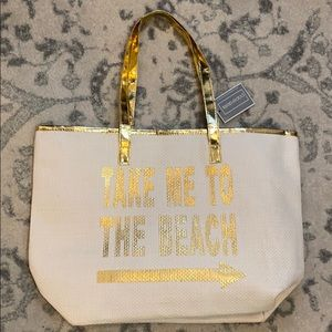 Take Me To The Beach Gold Beach Bag Tote